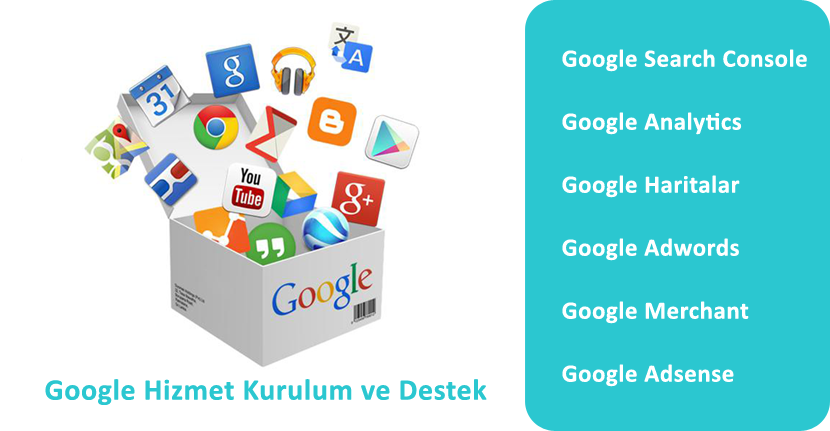 google haritalar, adwords, analytics, search console, google hizmetleri